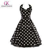 Cheap Women Summer Style plus size Retro Vintage Polka Dots 50s 60s Rock Roll ROCKABILLY Swing Pinup Dress vestidos femininos