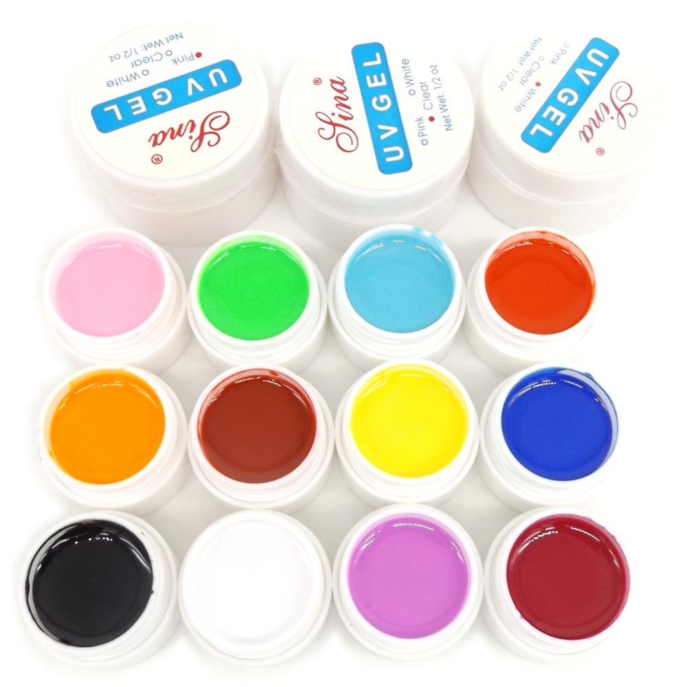 12 Color UV Gel Builder Clear Pink White Gel UV Nail Art Set(China (Mainland))