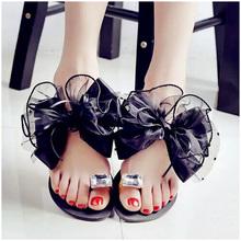 Eilyken Sommer Bowtie Blume Flache Sandalen Slipper Casual Mode Weibliche Strand Flip-flops Frauen Mesh Grau Schwarz Hausschuhe(China)