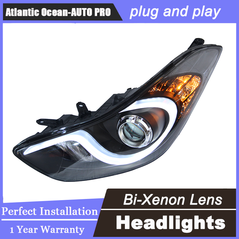 Auto.Pro Car Styling for Hyundai Elantra MD LED Headlights New Elantra DRL Lens Double Beam H7 HID Xenon bi xenon lens(China (Mainland))