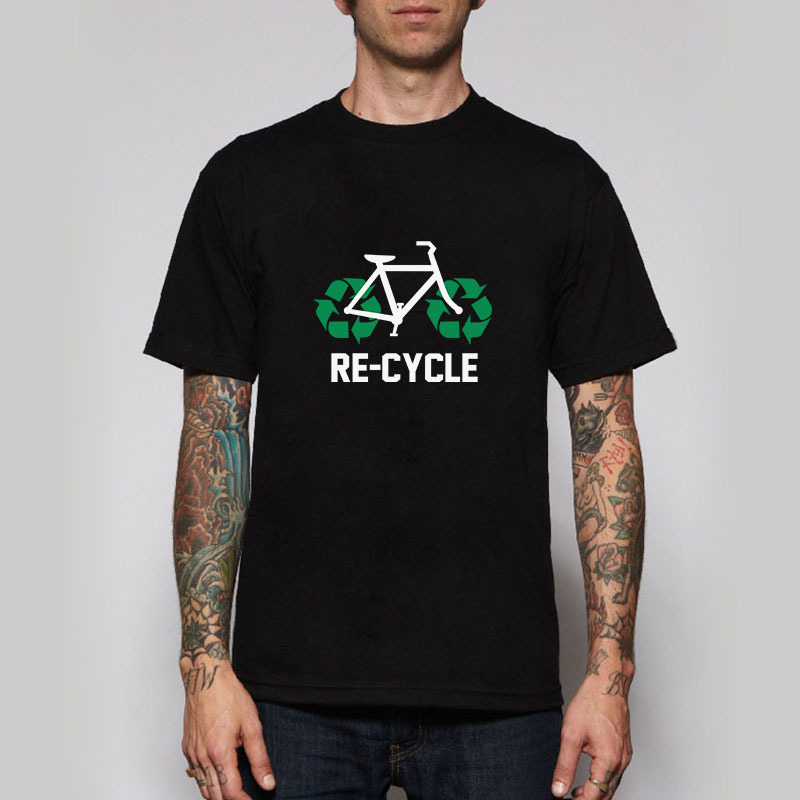 Free Shipping Recycle Bicycle T Shirts Men O-Neck Hip Hop Style Cotton Short Sleeve t shirt Euro Size(China (Mainland))