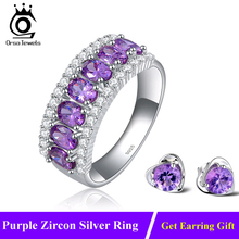 Luxury AAA Grade Purple Zircon Rings Clear CZ Micro Pave on Platinum Plated Rings for Women Fashion Jewelry Wholesale OR43(China (Mainland))
