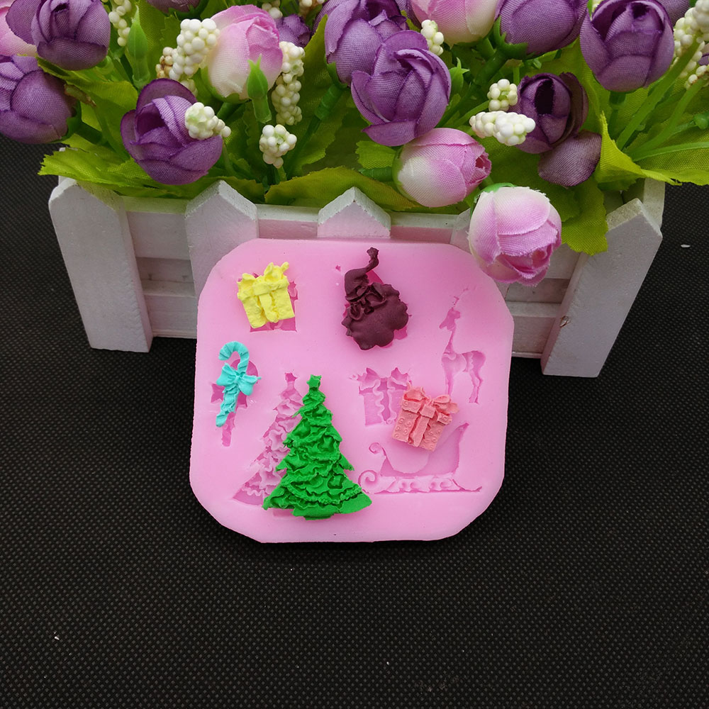 Buy Square Shape Christmas Tree 3d Silicone Kitchen Accessories Cooking Fondant