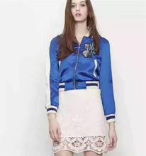 Floral Embroidery Blue Jackets Women 2016 Spring Fall New Short Ladies Jacket Fashion Bombers Femme 2016