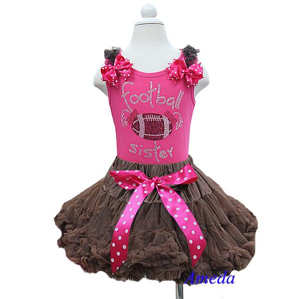 Girl Outfits Brown Pettiskirt Polka Dots Bow Plus Rhinestone Football Sister Hot Pink Tank Top 2 pcs set 1-7Y(Hong Kong)