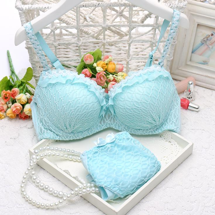 2016 new women cute push up sexy bra set A B C cup 32A 34A 36A 32B 34B 36B 32C 34C sexy lace girl underwear suit(China (Mainland))