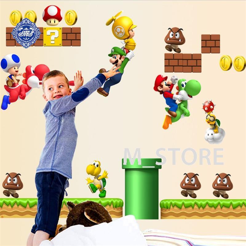 Super mario bros cartoon wall sticker home decor for kids for Decoration murale sticker
