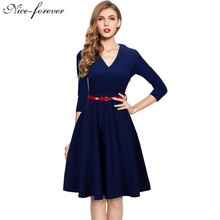 Nice-forever Spring Stylish Charming Elegant Lady dress Women button 3/4 Sleeve Vintage Tunic Party slim Ball Gown Dress a006(China (Mainland))