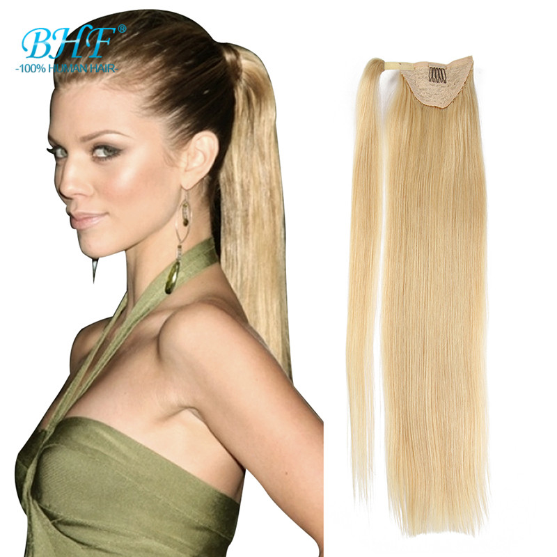 Claw Blonde Human Hair Ponytail Soft 100% Human Hair Ponytail Real Remy Human Hair 100g Clip In Ponytail Silky Straight(China (Mainland))