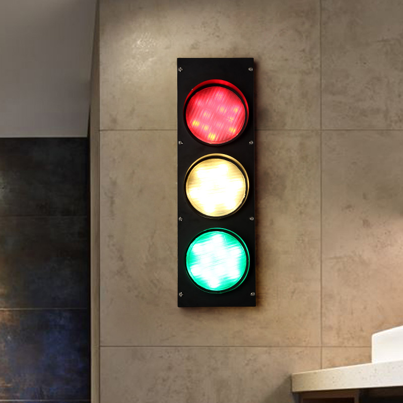 Modern Traffic Light LED Decoration Wall Sconce Fixtures Black Wall Lights For Coffee Bar Dining Room Beside Lighting Lamp WL218(China (Mainland))