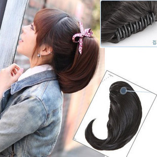 2014 New Free Shippping Fashion Girl's Hairpiece short Wave Claw Clip Ponytail Hair Extensions(China (Mainland))