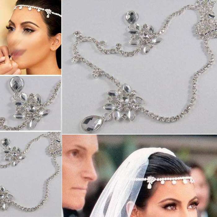 2015 Czech Crystal Forehead Waterdrop Hair Combs Bride Headband Hair Chain Wedding Celebrity Bridal Hair Jewelry Accessories(China (Mainland))