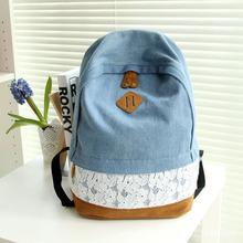 Factory Direct New Institute of Wind Bulei Si Denim Shoulder Bag Large Capacity Backpack Schoolbag Tide Female(China (Mainland))