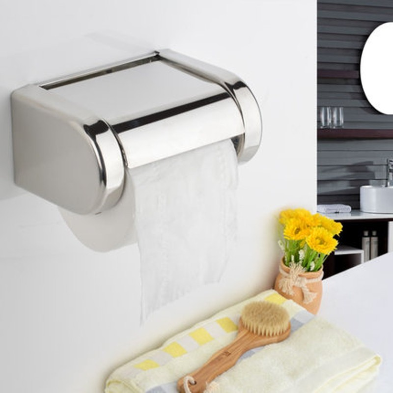 Kitchen Paper Holder Wall Mounted Stainless Steel Roll Tissue Box Durable Bathroom Accessories Modern Square Polished Chrome(China (Mainland))