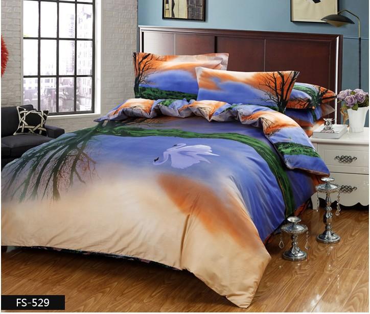 3d swan ensemble de literie couette housses de couette linge de lit bleu marque plat draps