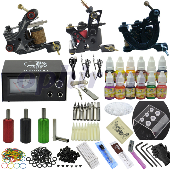OPHIR 351pcs/set 3 Dragonfly Rotary Tattoo Machine Guns & 12 Color Tattoo Ink & Needle Set Tatoo Nozzle Pigment Kits #TA081(China (Mainland))