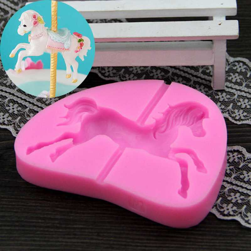 Carousel Horse Silicone Fondant Mold Soap Cake Decor ...