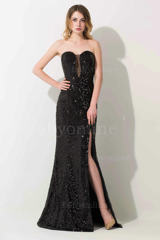 Aliexpress.com Acheter Robe de soirée 2016 Nouveau Chérie Noir Sequin Sirène Robe de Soirée Sexy Haute Fente Longue Robe De Bal de robe bandage fiable
