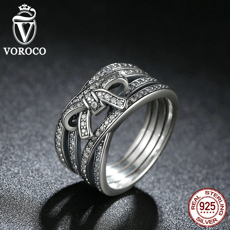 VOROCO New Classic 925 Sterling Silver Big Bow Knot DELICATE SENTIMENTS RING Finger Ring Compatible with VRC Jewelry A7189(China (Mainland))