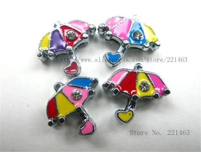 Wholesale SL134 Free shipping! 50pcs umbrella Slide Charms Fit Wristband Pet Dog Cat Tag Collar 8mm one rhinestone Star(China (Mainland))
