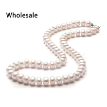 Classic 8-9mm semi-round natural pearl necklace for women fashion 18k white gold plated clasp white pink purple 3 colors(China (Mainland))