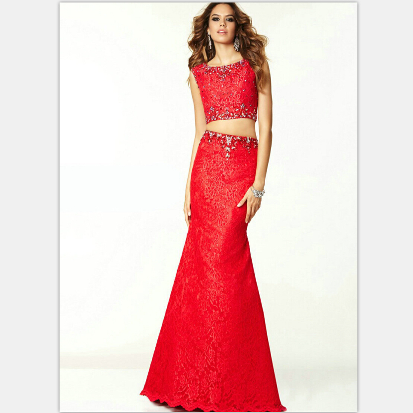 Vintage Style Red Lace Prom Dress