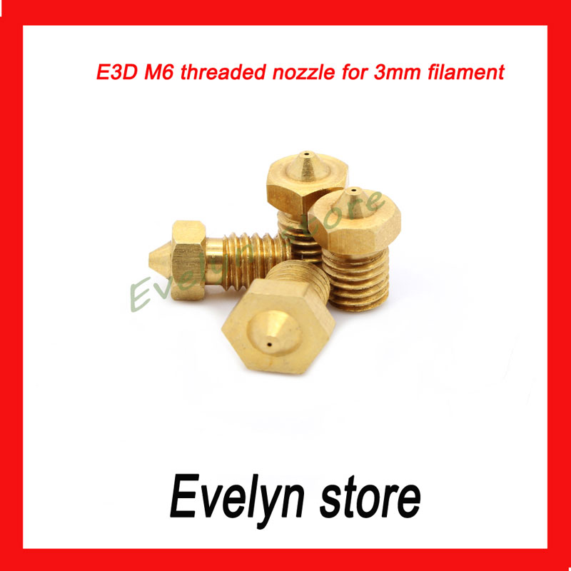 Free Shipping ! 3D Printer Accessories Full Metal M6 threaded nozzle 0.3mm/0.4mm/0.5mm for 3mm filament<br><br>Aliexpress