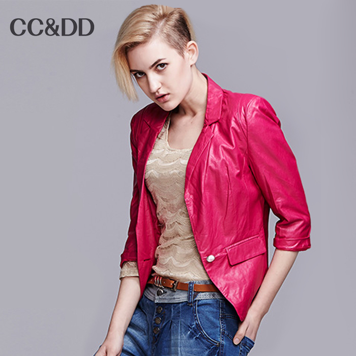 With explosive PU leather female brief paragraph coat single button 7 minutes of sleeve(China (Mainland))