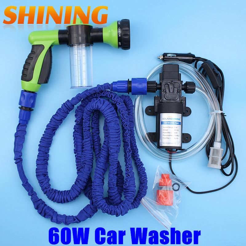 DC12V Foam Gun Car Washing Machine Cleaning Pump High Pressure Water Pump Washing Equipment Washer Set + 7.5m Expandable Hose(China (Mainland))