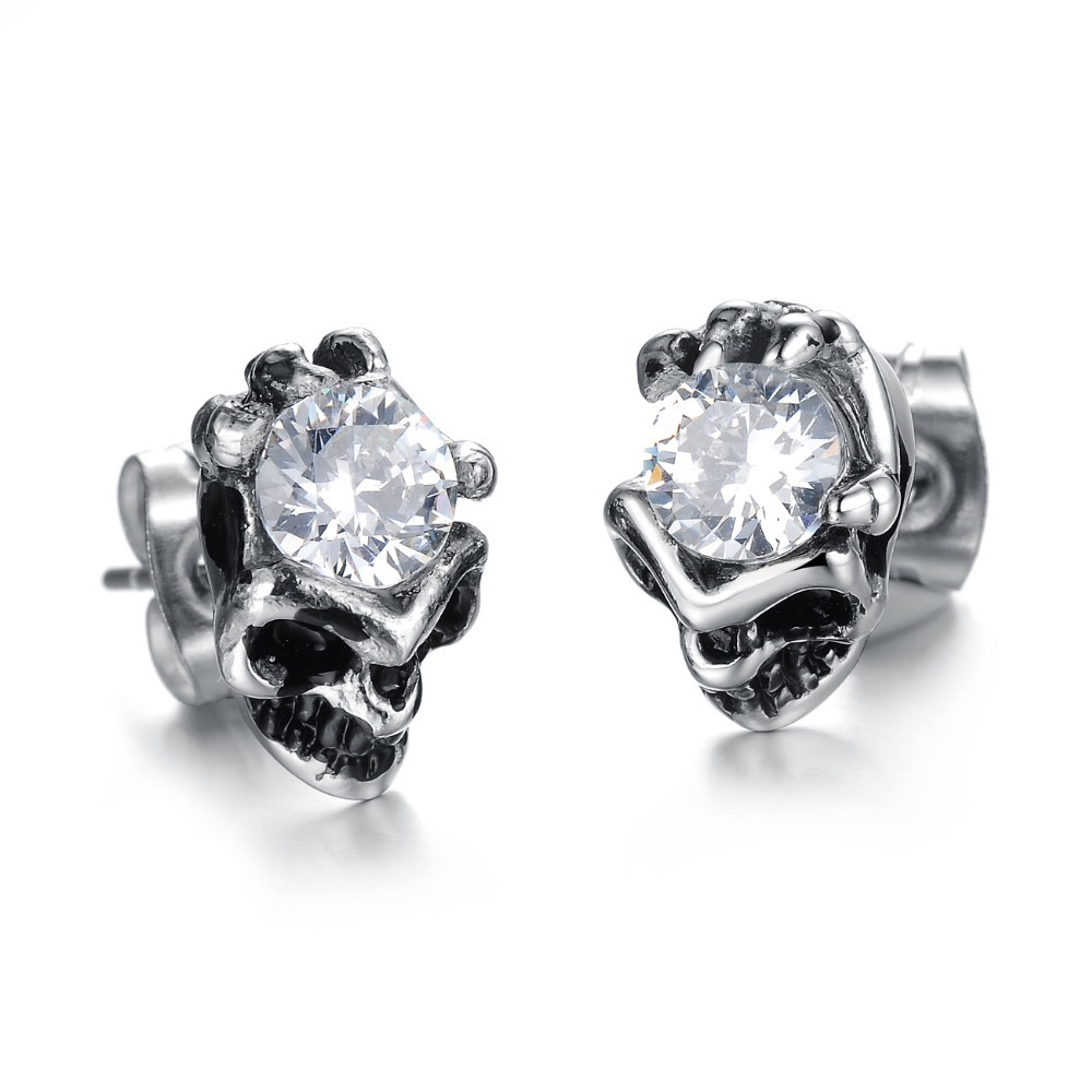 2015 New Jewelry Fashion Boutique Selling Exquisite Titanium Steel Skull Earrings Ge277 Personality - kiki fashion jewelry ( worldwide store)