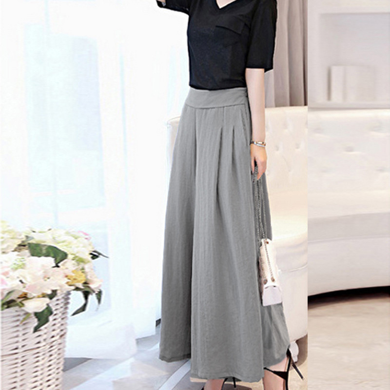 Mori Girl 2016 Summer New Womens Linen Wide Leg Loose Dress Pants Ladies Capris Culottes Casual Ankle-Length Skirt Trousers(China (Mainland))