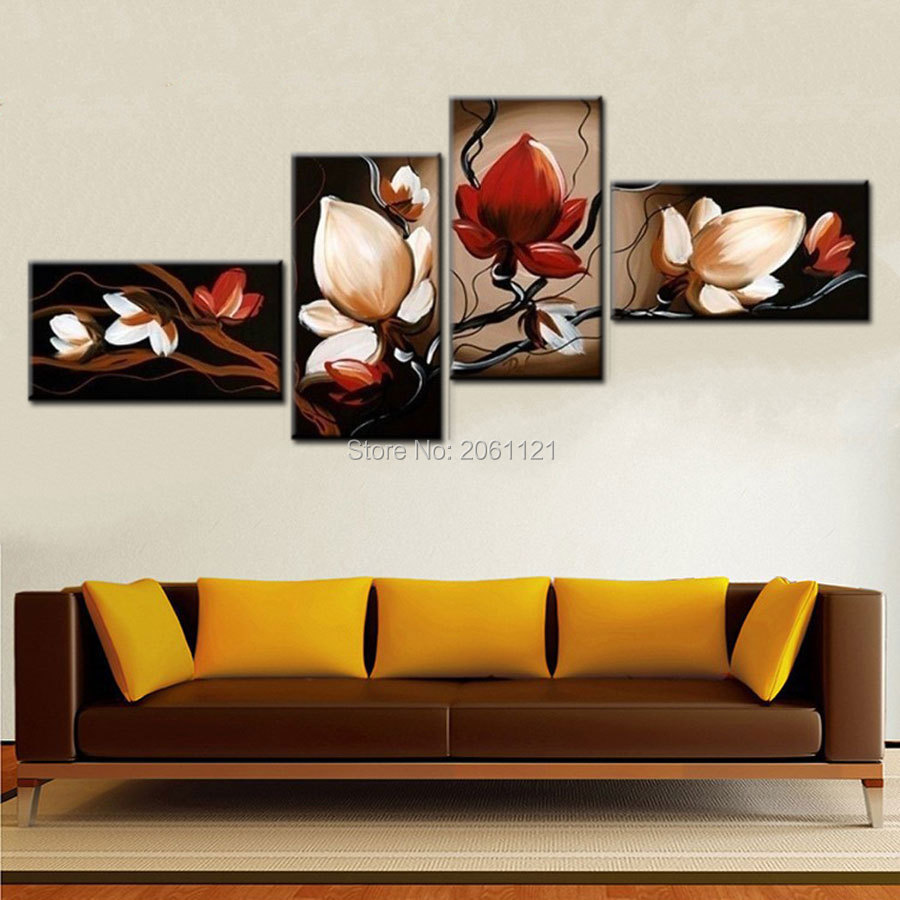 Best Sale Dark Red Flower Art Canvas Painting Oil Cheap Wall Art Decor Room Pictures Modern