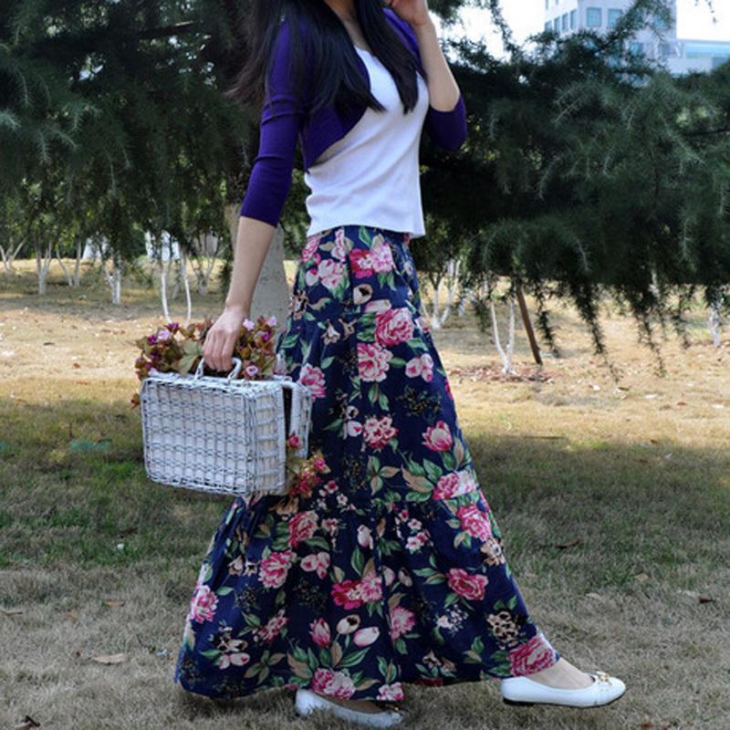 Linen Skirts Women Summer Bohemia Skirt Long Flower Print Floral - Happyhour 100% Store store