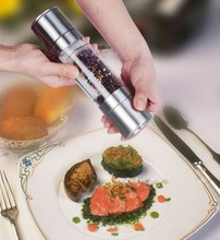 2In1 Salt Pepper Mill  Stainless steel double head manual salt and pepper mill(China (Mainland))