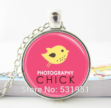 Wholesale Glass Dome Jewelry, Photography Chick Camera Jewelry For Photographers Pink and Yellow Art  Glass dome necklace silver(China (Mainland))