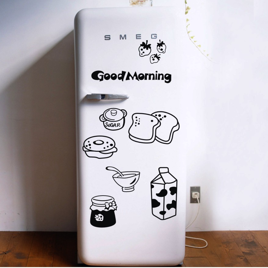 Good morning breakfast combination wall decals Warm family dining room kitchen fridge decorative wall stickers free shipping(China (Mainland))