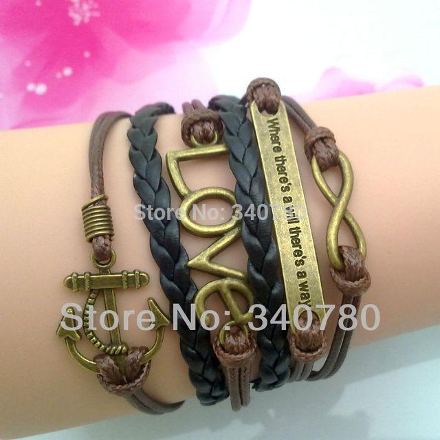 Free shipping bracelets fashion charm bracelet anchor infinity love multi-layer bracelet with 5cm extend chain bracelet