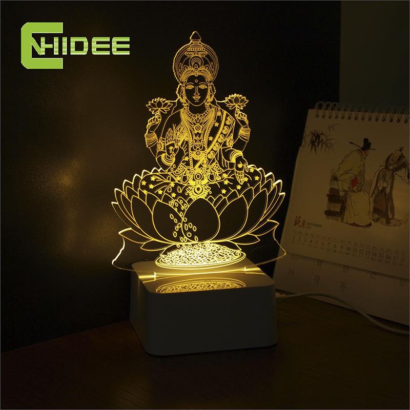 CNHIDEE Novel Engraved Table 3d LED Light Home Decor Fairy Lamp Lakshmi Night Mission Led RGB Tafellamp Lampade Da Tavolo(China (Mainland))