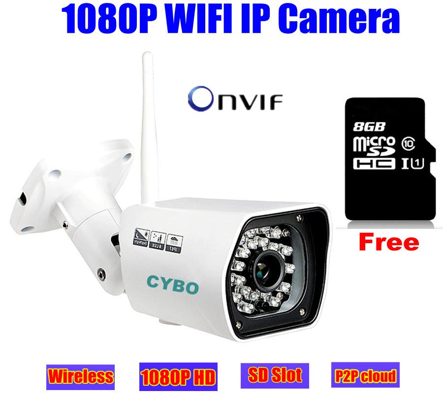 wireless cctv IP camera 1080p HD sony cmos Megapixel 2mp WIFI security outdoor IR onvif surveillance camera system 8GB SD Card<br><br>Aliexpress