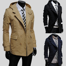 2014 New Time-limited Cotton Velvet Half Solid Brand Autumn Male Trench Fashion Double Breasted Slim with A Hood Outerwear Thin