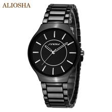 Aliosha lujo SINOBI marca mujer acero de tungsteno de o hombre de reloj de cuarzo Relogio Masculino negro o blanco bandas descuento relojes