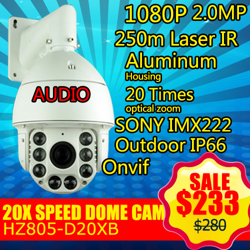 805-D20XB audio Zoom Outdoor 250m Laser IR-CUT 2.0MP 1080P HD Network PTZ Speed Dome IP Onvif Security Camera(China (Mainland))