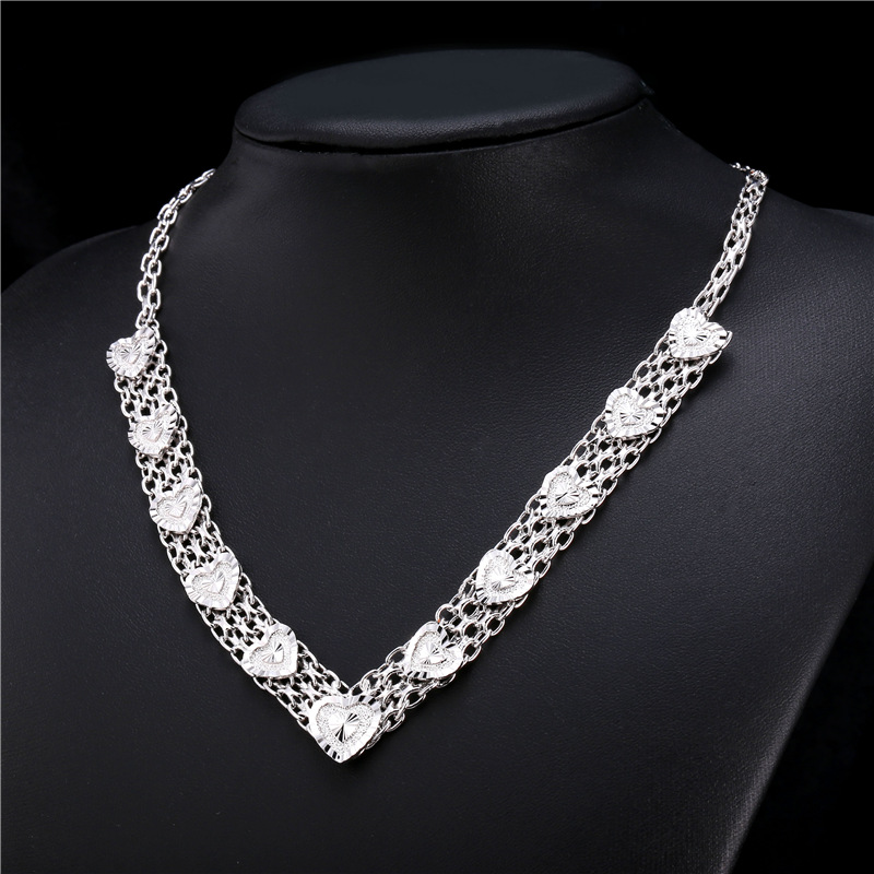 Trendy Heart-Shaped Necklaces Cuban Link Chain Gold/Platinum Plated For Women Dating/Engagement Female Ornaments Jewelry I-N233(China (Mainland))