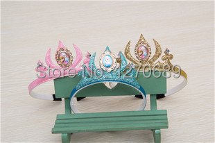 wholesale 10pcs2014New elsa children girls headband crown accesories Christmas student birthday gift party supplier(China (Mainland))
