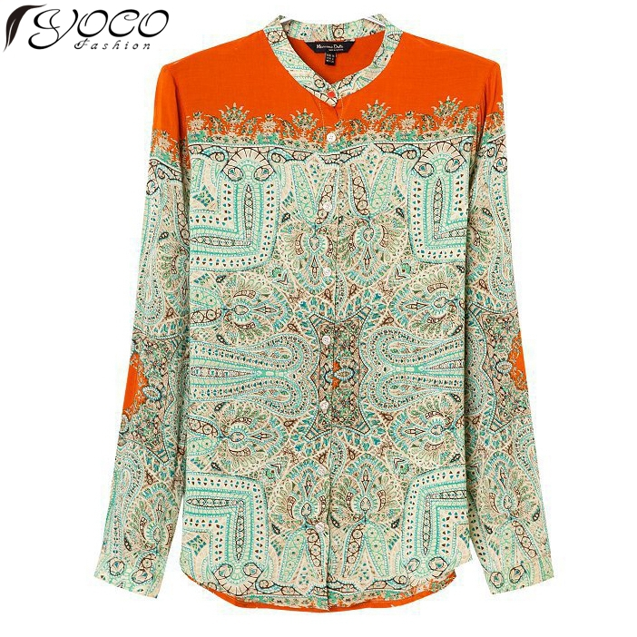 2015 women totem vintage long sleeve summer blouses ladies printed casual blouse&shirt 12832 - Yoco Fashion Apparel store