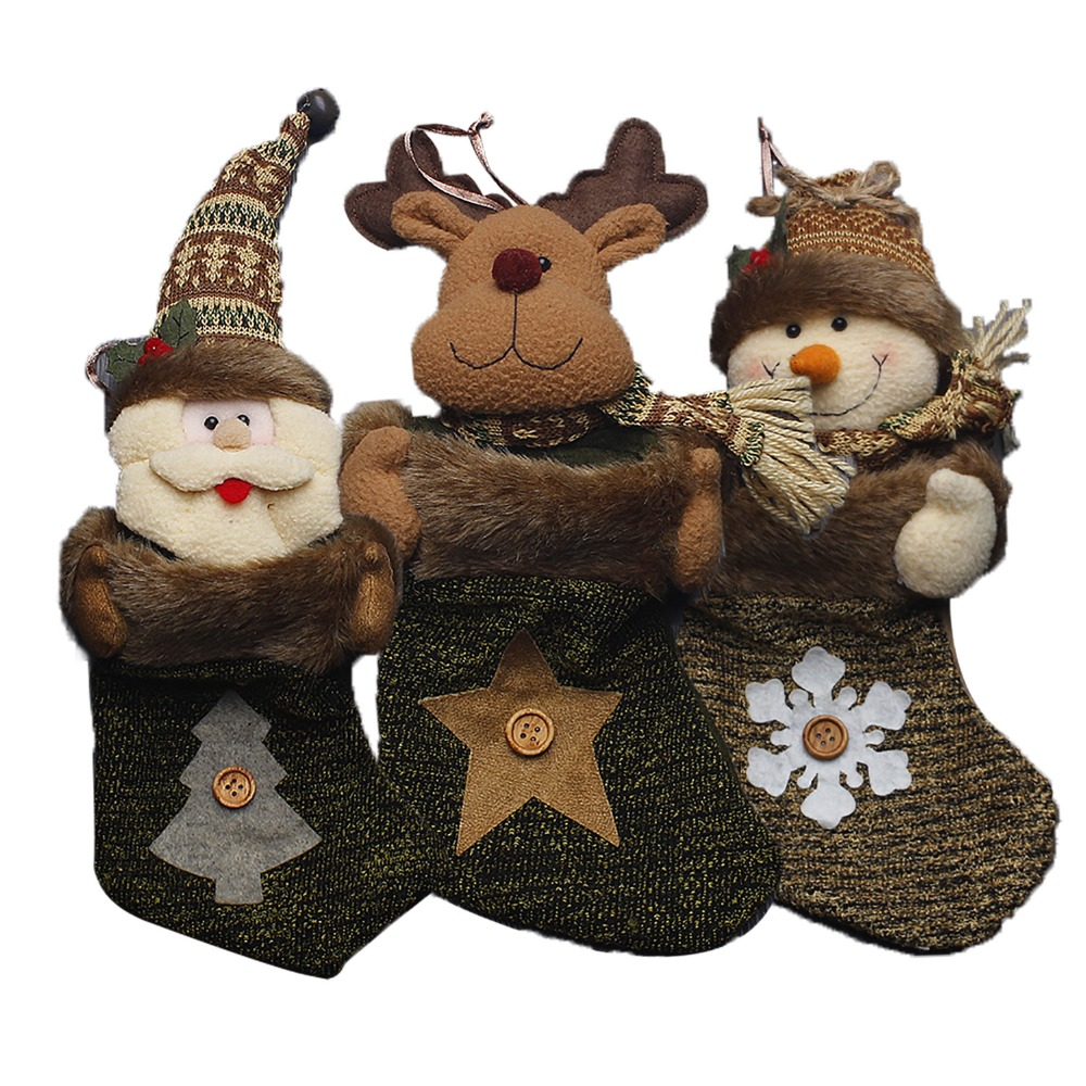 3Styles Chirstmas Decorations for Home Candy Socks Bags for Adornos Navidad Santa Snowman Bags for Noel New Year Gifts #LN