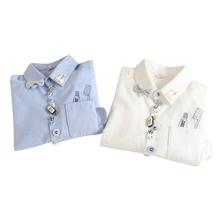 2Y11 Women fashion elegant school style Toothbrush print pocket button turn-down collar blouse bow  shirt casual brand female(China (Mainland))