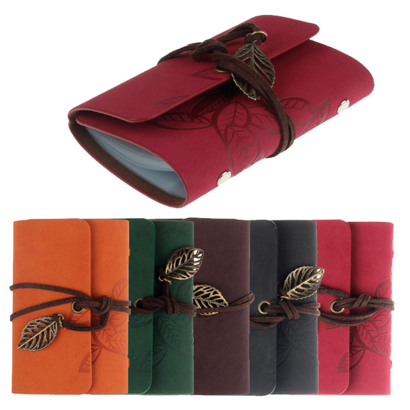 New Fashion 20 Card Slots Vintage Practical Leather String Leaves Credit ID Card Holder Wallet Book Cover Case Wholesale(China (Mainland))
