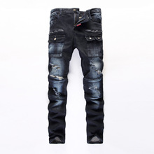 2016 New Fashion Ripped Jeans Men Biker Famous Brand Clothing Designer Denim Holes Patches Size 28 38 - Very Modern store