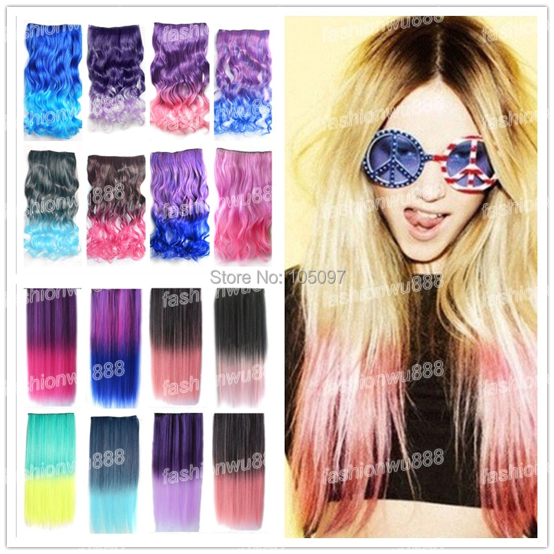 """18""""24"""" Rainbow Fading Color Clip In Hair Extensions Straight Synthet 18 Colors 1pcs/lot(China (Mainland))"""